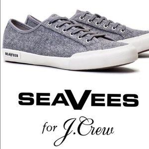 J. Crew x SeaVees Wool Monterey Sneaker in Grey